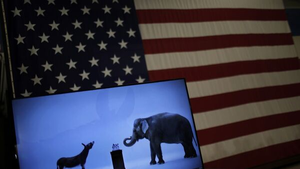 The mascots of the Democratic and Republican parties, a donkey for the Democrats and an elephant for the GOP, are seen on a video screen at Democratic U.S. presidential candidate Hillary Clinton's campaign rally in Cleveland, Ohio March 8, 2016 - Sputnik International