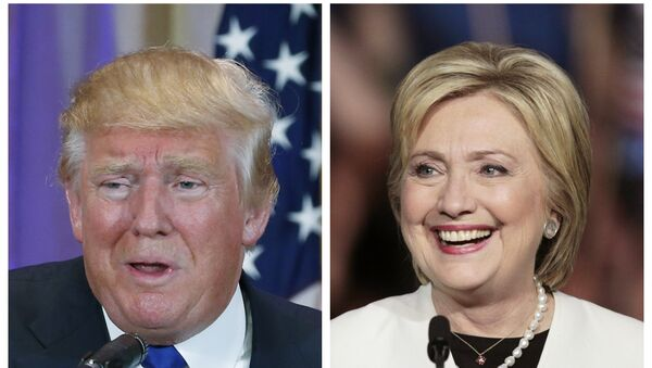 A combination photo shows Republican US presidential candidate Donald Trump (L) and Democratic US presidential candidate Hillary Clinton (R) - Sputnik International