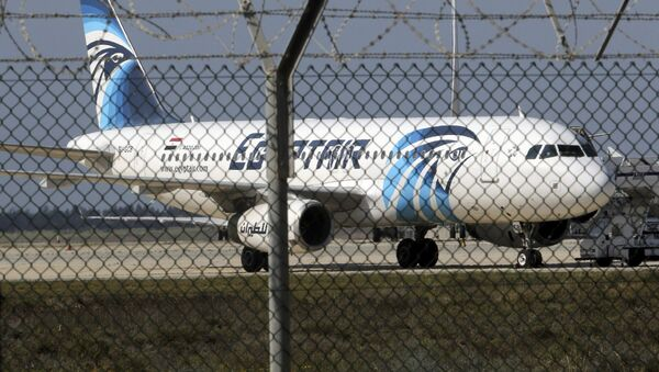 A hijacked Egyptair Airbus A320 airbus stands on the runway at Larnaca Airport in Larnaca, Cyprus , March 29, 2016 - Sputnik International