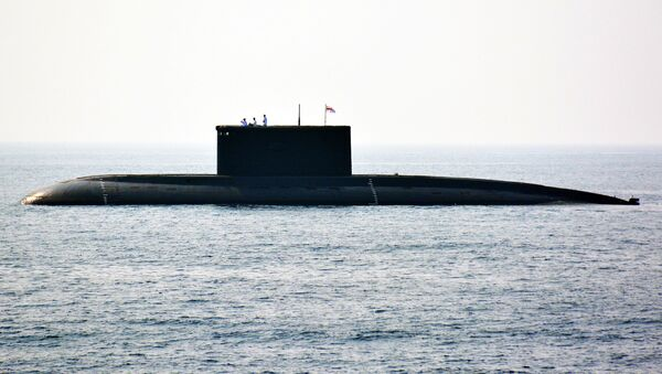 Indian Navy personnel stand on an Indian Navy submarine during the International Fleet Review in Visakhapatnam on February 6, 2016 - Sputnik International