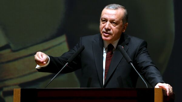 Turkish President Tayyip Erdogan addresses the war academy in Istanbul, Turkey March 28, 2016, in this handout photo provided by the Presidential Palace - Sputnik International