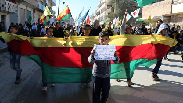 Kurdish children hold a flag of the Kurdish People's Protection Units (YPG) political wing, the Democratic Union Party (PYD), and banners during a demonstration against the exclusion of Syrian-Kurds from the Geneva talks in the northeastern Syrian city of Qamishli on February 4, 2016 - Sputnik International