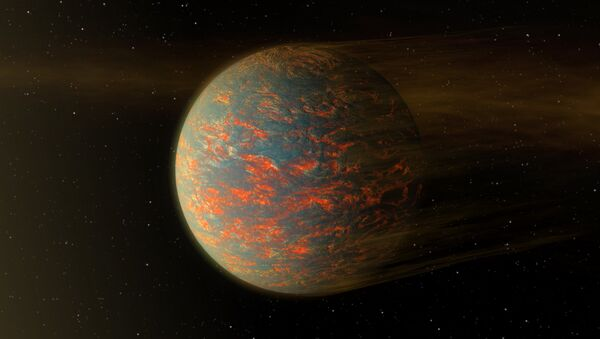 This illustration shows one possible scenario for the hot, rocky exoplanet called 55 Cancri e, which is nearly two times as wide as Earth - Sputnik International