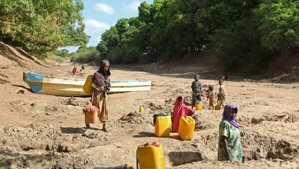 People collect water from shallow wells dug along the Shabelle River bed, which is dry due to drought in Somalia's Shabelle region, March 19, 2016 - Sputnik International