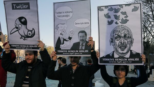 Members of the Turkish Youth Union hold cartoons depicting Turkey's Prime Minister Recep Tayyip Erdogan during a protest against a ban on Twitter, in Ankara, Turkey, Friday, March 21, 2014 - Sputnik International