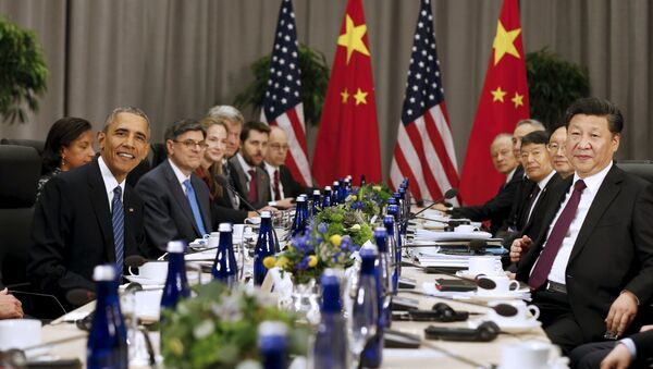 U.S. President Barack Obama (L) meets with Chinese President Xi Jinping (R) at the Nuclear Security Summit in Washington March 31, 2016 - Sputnik International