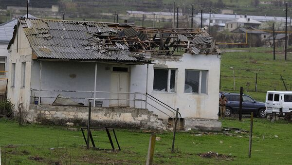 A damaged house in a village of the Martakert district, in the Nagorno-Karabakh conflict zone. - Sputnik International