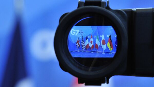 Flags are seen in a camera screen at the G7 summit (file) - Sputnik International