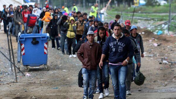 Migrants and refugees walk to cross Greek-Macedonian border near the village of Idomeni, in northern Greece on October 14, 2015 - Sputnik International