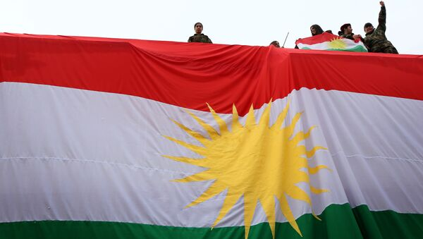Iraqi Kurdish youths wave a national flag as they stand above a giant flag of Kurdistan during celebrations of Flag Day on December 17, 2015 - Sputnik International