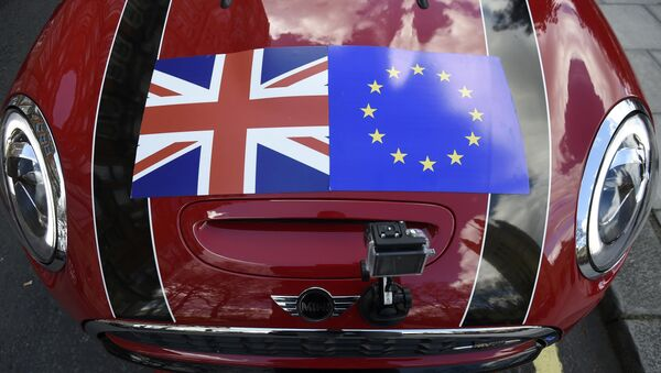 A Mini car is seen with a Union flag and European Union flag design on its bonnet in London, Britain March 31, 2016 - Sputnik International