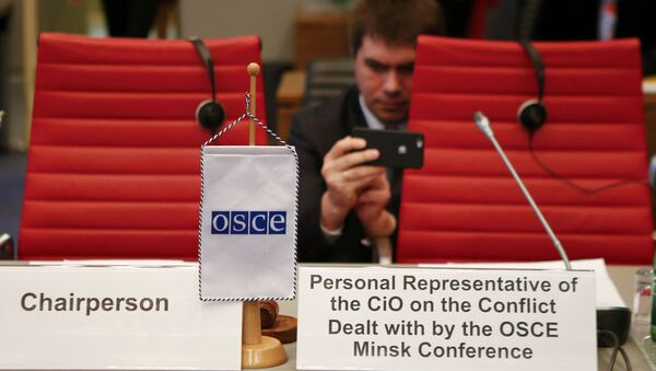 Diplomats wait for the start of a meeting of the permanent council of the OSCE, the Organization for Security and Cooperation in Europe, on Nagorno-Karabakh in Vienna, Austria, April 5, 2016 - Sputnik International