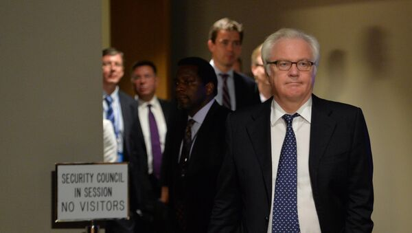 Vitaly Churkin, Russia's Ambassador to the United Nations, leaves the Security Council chambers July 21, 2014 at UN headquarters in New York - Sputnik International