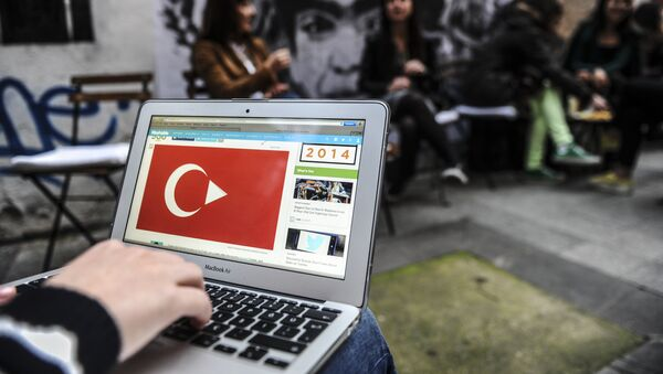 A person uses a laptop computer showing a Turkish flag on March 27, 2014 in Istanbul - Sputnik International