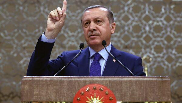 Turkish President Recep Tayyip Erdogan addresses a meeting of local administrators in Ankara, Turkey, Wednesday, April 6, 2016 - Sputnik International