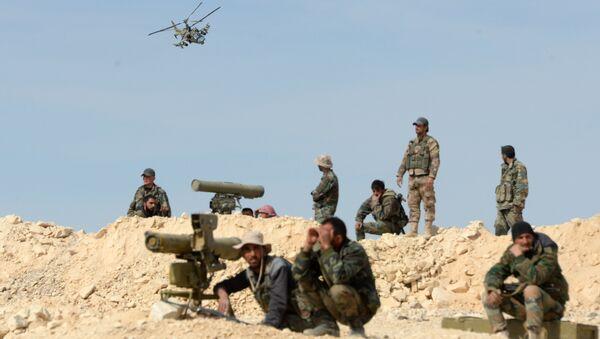 Ka-52 helicopter flies combat mission in Syria - Sputnik International