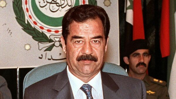 Iraqi President Saddam Hussein shown in file picture dated 28 May 1990 in Baghdad, addresses the opening session of the Extraordinary Arab Summit called to adopt a unified Arab stance against Soviet Jewish immigration to Israel.(File) - Sputnik International