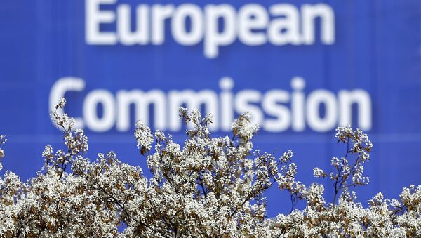 A sign is seen at the European Commission (EC) headquarters ahead of statements by the EC on the effectiveness of existing measures against tax evasion and money-laundering in light of the recent Panama Paper revelations, in Brussels, Belgium, April 12, 2016. - Sputnik International