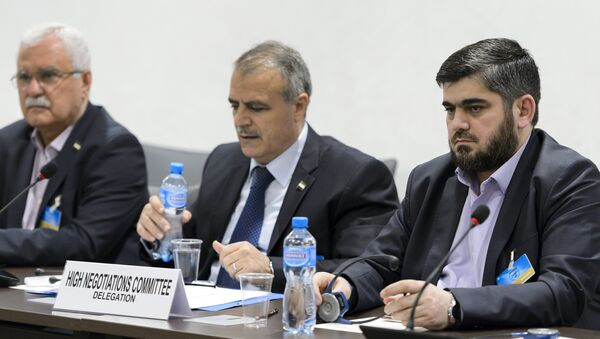 Members of the Syrian opposition delegation of the High Negotiations Committee (HNC) George Sabra (L) delegation head Asaad Al-Zoubi (C) and Chief negotiator, Army of Islam rebel group's Mohammed Alloush (R) attend a meeting with U.N. mediator on Syria Staffan de Mistura during Syria peace talks at the United Nations in Geneva, Switzerland, April 15, 2016 - Sputnik International