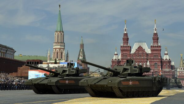 Russian T-14 Armata tanks drive during the Victory Day military parade at Red Square in Moscow on May 9, 2015. - Sputnik International