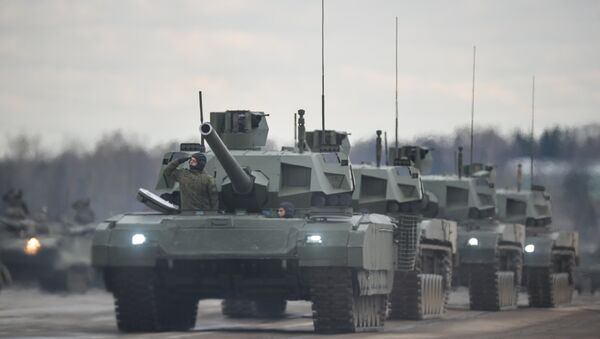 Tanks Armata of the mechanized columns of the Central Military District's Moscow Garrison during the rehearsal of the military parade to mark the 71st Anniversary of the Victory in the Great Patriotic War, at the Alabino training ground, Moscow Region. - Sputnik International