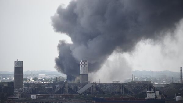 Smoke rises from the explosion site at Mexican national oil company Pemex's Pajaritos petrochemical complex in Coatzacoalcos. - Sputnik International