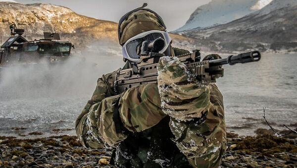 A royal Marine from 539 Assault Squadron performing a beach assault from a Landing craft Air Cushioned (LCAC) Hovercraft in Harstad, Norway. - Sputnik International