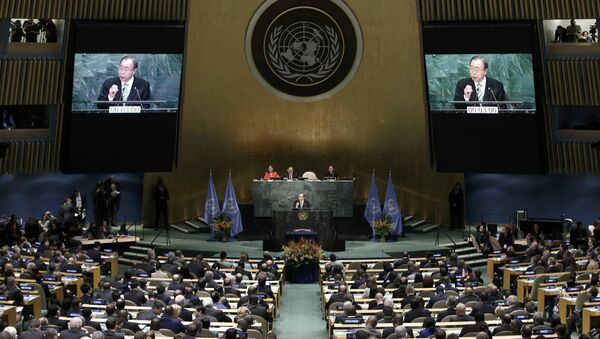 Ban Ki-moon, Secretary-General of the United Nations, delivers his opening remarks at the Paris Agreement signing ceremony on climate change at the United Nations Headquarters in Manhattan, New York, U.S., April 22, 2016 - Sputnik International