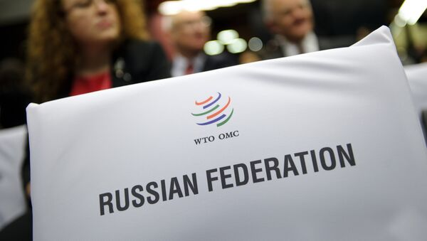 A label indicating the seats for the Russian delegation is seen prior to the start of a World Trade Organization ministerial meeting that gave its second and final approval for Russia's membership in the trade body after a record 18-year quest to join, on December 16, 2011 in Geneva - Sputnik International