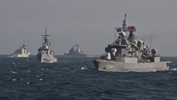 War ships of the NATO Standing Maritime Group-2 take part in a military drill on the Black Sea, 60km from Constanta city March 16, 2015 - Sputnik International