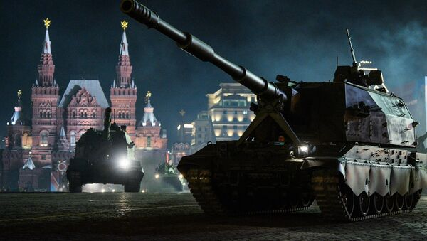 Koalitsiya-SV self-propelled howitzers at a rehearsal of a military parade in Moscow to mark the 71st anniversary of victory over Nazi Germany in the Second World War - Sputnik International