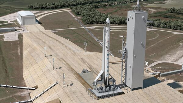 This artist's concept shows Launch Complex 39A at NASA's Kennedy Space Center in Florida as it will appear for the launch of a SpaceX Crew Dragon spacecraft atop a Falcon 9 rocket. SpaceX is modifying the launch pad to host Falcon 9 and Falcon Heavy launch vehicles - Sputnik International