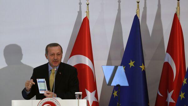Turkish Prime Minister Recep Tayyip Erdogan speaks after the EU and Turkey signed agreements in Ankara, Turkey (File) - Sputnik International
