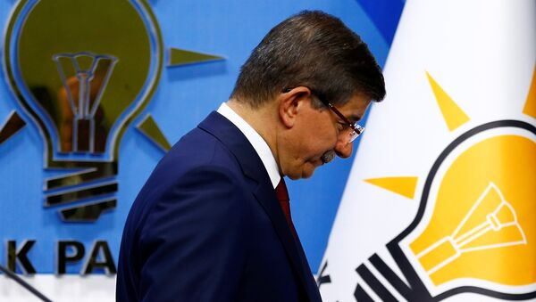 Turkish Prime Minister Ahmet Davutoglu leaves a news conference at his ruling AK Party headquarters in Ankara, Turkey May 5, 2016. - Sputnik International