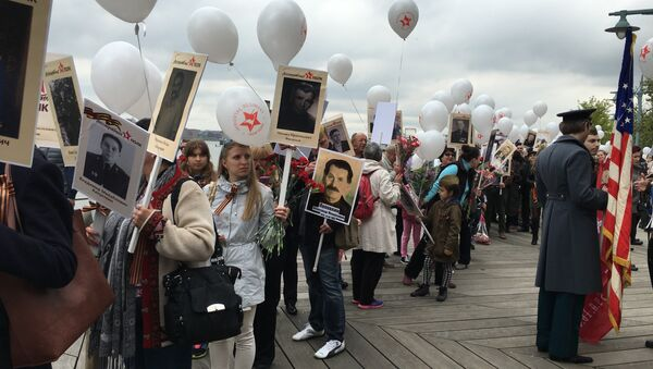 Participant's in Immortal Regiment commemoration activities in New York gather for a march - Sputnik International