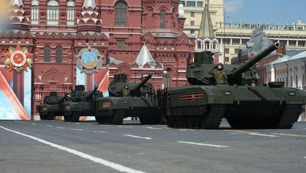 Armata T-14 tanks on Red Square, Moscow during the final practice of the military parade marking the 71st anniversary of the victory in the Great Patriotic War, May 2016. - Sputnik International