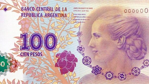 """Argentina's beloved former First Lady Eva Perón – widely known by her nickname """"Evita"""" – appears on the current 100-peso bill. - Sputnik International"""