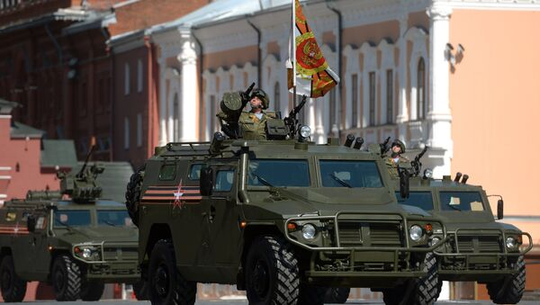 Multipurpose, all-terrain infantry mobility vehicle Tigr showcased during Victory Day parade in Moscow on May 9, 2016. - Sputnik International