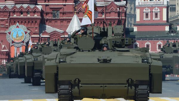 Kurganets-25 armored personnel carriers with medium-category caterpillar chassis at the military parade to mark the 71st anniversary of Victory in the 1941-1945 Great Patriotic War, May 9, 2016 - Sputnik International
