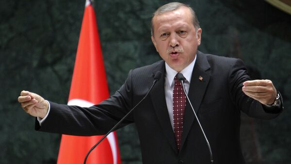 President of Turkey Recep Tayyip Erdogan delivers a speech during a ceremony of Turkey's main private sector organisation, the Union of Chambers and Commodity Exchanges of Turkey (TOBB), in Ankara, on May 10, 2016 - Sputnik International