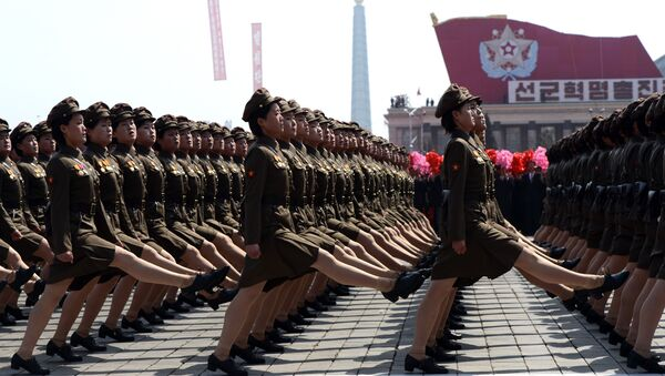 North Korean female soldiers march during a military parade to mark 100 years since the birth of the country's founder Kim Il-Sung in Pyongyang on April 15, 2012 - Sputnik International