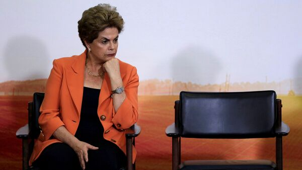 Brazil's President Dilma Rousseff reacts during a launch ceremony of Agricultural and Livestock Plan for 2016/2017, at the Planalto Palace in Brasilia, Brazil - Sputnik International