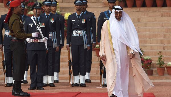 Abu Dhabi's Crown Prince Sheikh Mohammed bin Zayed al-Nahyan (R) inspects a guard of honour during a ceremonial reception at the presidential palace in New Delhi. (File) - Sputnik International