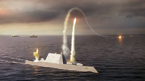 Artistic Rendering of the USS Zumwalt class destroyer DDG 1000 - Sputnik International