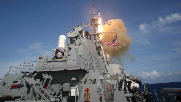 A Standard Missile (SM-3) is launched from the Aegis combat system equipped Arleigh Burke class destroyer USS Decatur (DDG 73) during a Missile Defense Agency ballistic missile flight test - Sputnik International