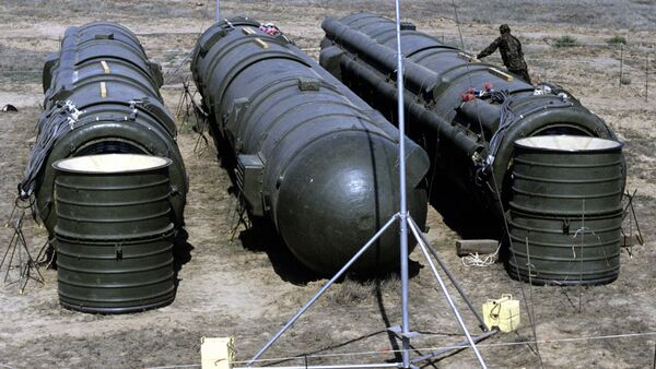A bundle of three Soviet RSD-10 missiles prepared for demolition at the Kapustin Yar launch site. The missiles were destroyed in accordance with the INF Treaty. - Sputnik International