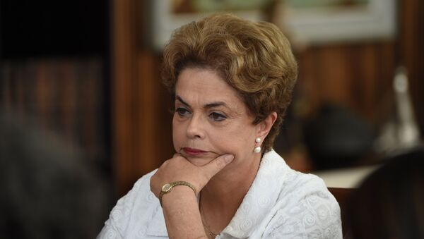 Brazilian suspended President Dilma Rousseff gives a press conference with international media at the presidential residence Alvorada Palace in Brasilia on May 13, 2016 - Sputnik International