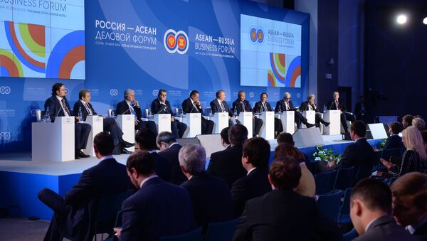 Participants in the plenary session, Russia–ASEAN Partnership in the New Integration Architecture of the Asia-Pacific Region: Opportunities for Businesses, held as part of the ASEAN-Russia Business Forum at the Pullman Sochi Centre Hotel - Sputnik International