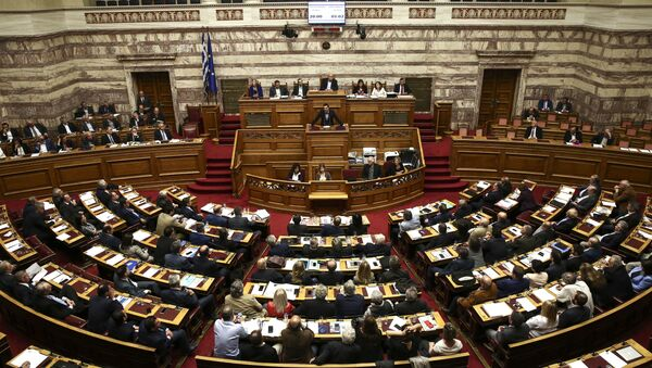 Greece's Prime Minister Alexis Tsipras addresses lawmakers during a parliamentary session in Athens. - Sputnik International