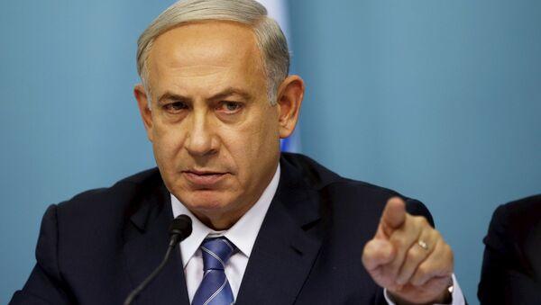 Israel's Prime Minister Benjamin Netanyahu gestures as he speaks during a news conference in Jerusalem October 8, 2015. - Sputnik International